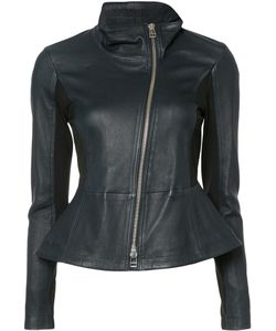 Veronica Beard | Off-Centre Zip Jacket 4 Lamb Skin/Nylon/Spandex/Elastane