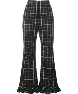 A.W.A.K.E | Checked Ruffle Hem Trousers 42 Cotton/Polyester