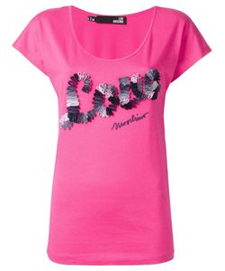 Love Moschino   Embroidered Logo T-Shirt 42 Cotton/Modal