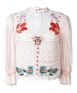 Temperley London | Aura Lace Sleeved Blouse 10 Silk/Spandex/Elastane/Nylon