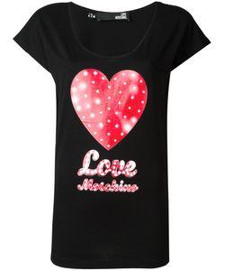 Love Moschino   Heart Print T-Shirt 42 Cotton/Modal
