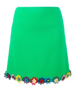 Mary Katrantzou | Flower-Embellished Clovis Skirt 10 Wool/Silk/Cotton