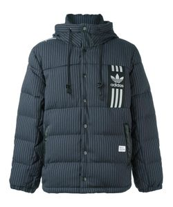 adidas Originals | Pinstripe Hooded Down Jacket Large Polyester/Viscose/Feather