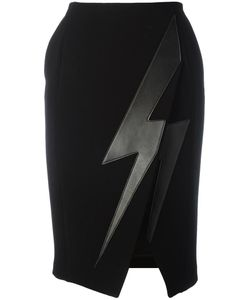 Neil Barrett | Lightning Bolt Skirt 42 Lamb Skin/Polyester/Acetate