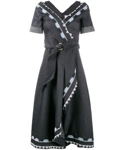 Peter Pilotto | Embroidered Wrap Dress 8 Cotton/Linen/Flax/Polyester/Acetate