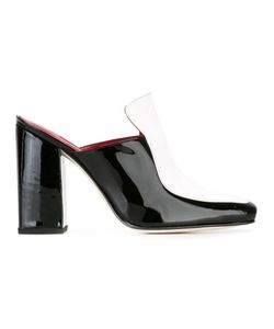 DORATEYMUR | Square Toe Mules 38 Patent Leather/Leather