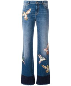 Red Valentino | Birds Patch Straight Jeans 28 Cotton/Silk/Viscose