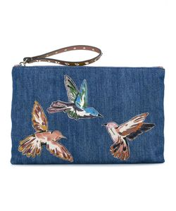 Red Valentino | Embroidered Bird Denim Clutch Cotton/Leather