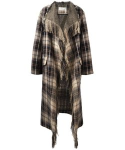 Chloe | Chloé Fringed Plaid Blanket Coat 38 Wool/Cotton/Calf Leather