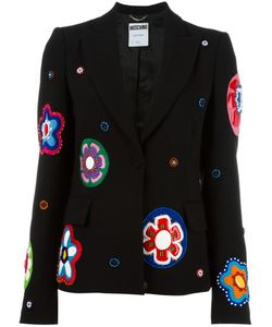 Moschino | Flower Appliqué Blazer 42 Polyester/Rayon/Triacetate