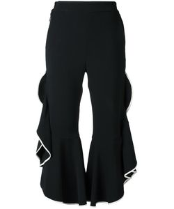 Jonathan Simkhai | Ruffled Cropped Trousers 4 Acetate/Viscose/Spandex/Elastane