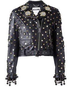 Moschino | Mirror Embellished Biker Jacket 44 Goat Skin/Rayon