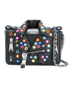 Moschino | Mirror Embellished Biker Shoulder Bag Goat Skin/Leather/Nylon/Metal