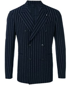Lardini | Double-Breasted Pinstripe Blazer