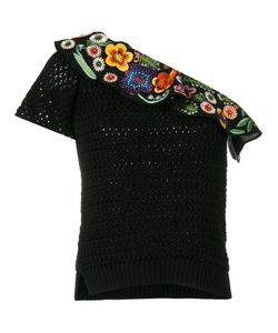 Fendi   Embroide One Shoulder Top 42 Cotton/Glass/Viscose/Polyester