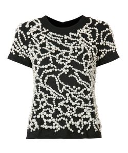 Vera Wang | Pearl Embroide T-Shirt Medium Cotton/Nylon/Plastic