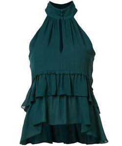 Cinq A Sept | Halterneck Ruffled Top Medium Polyester/Silk