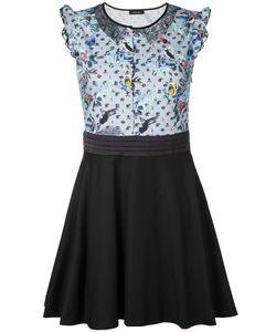 LOVELESS | Lace Insert Bird Print Dress 34 Cotton