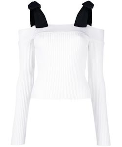 MSGM | Tied Shoulders Ribbed Blouse