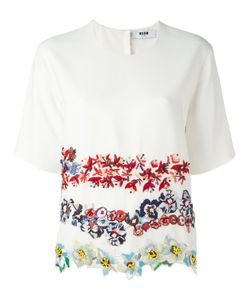 MSGM | Embroide Flower T-Shirt 44 Acetate/Viscose/Polyester