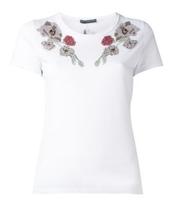 Alexander McQueen | Embroidered T-Shirt Size 40 Cotton/Plastic/Glass/Metal Other