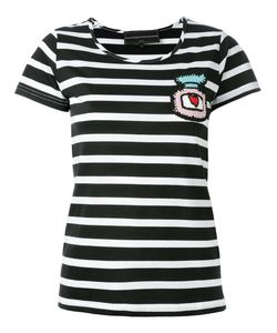 Michaela Buerger   Patch Striped Cropped T-Shirt Size Small