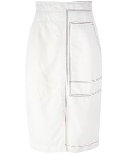 Stella Mccartney | Stitched Patch Pocket Skirt 38 Cotton/Linen/Flax/Polyamide
