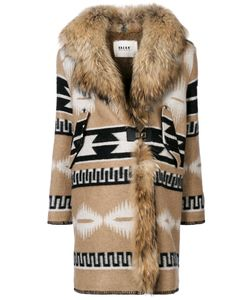 BAZAR DELUXE | Printed Coat With Faux Fur Collar Women