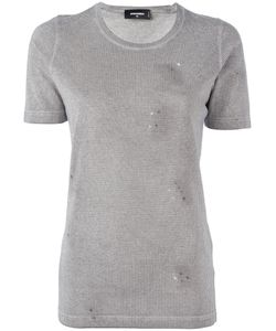 Dsquared2 | Microstudded Distressed T-Shirt Xs Cotton/Aluminium