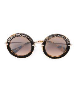 Miu Miu Eyewear | Rhinestone Embellished Round Sunglasses Acetate/Metal
