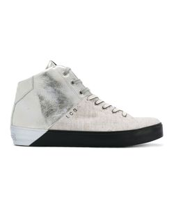 Leather Crown | Panelled Hi-Top Sneakers Size 40