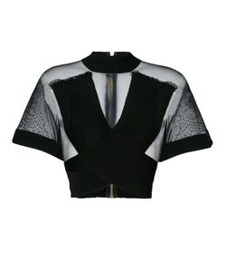 Balmain | Ribbed Crossover Mesh Top Women