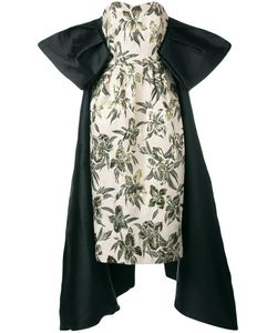 Christian Pellizzari | Strapless Jacquard Tailed Sleeve Gown Size