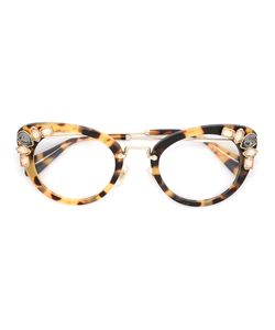 Miu Miu Eyewear | Tortoiseshell Eye Cat Glasses Acetate/Stone/Metal
