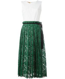 Erika Cavallini   Pleated Lace Midi Dress 48 Cotton/Spandex/Elastane