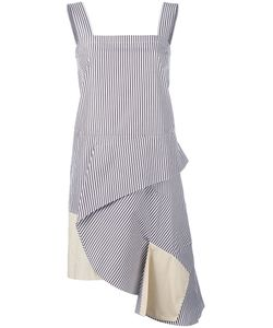 Ports | 1961 Asymmetric Striped Dress 42 Cotton
