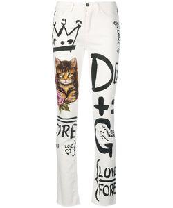 Dolce & Gabbana   Джинсы Прямого Кроя С Комбинированным Принтом