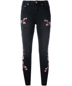 One Teaspoon   Birds Of Paradise Embroidered Cropped Jeans Size 28