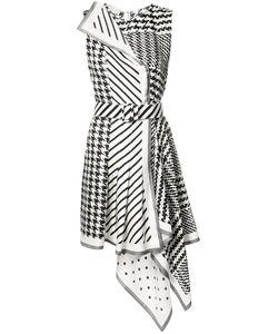 Monse | Houndstooth Striped Asymmetric Dress 6 Silk