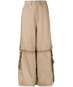 G.V.G.V. | Lace-Up Wide Leg Jeans 34 Cotton