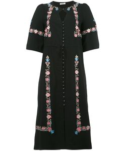 VILSHENKO | Embroidery Midi Dress 10 Silk/Viscose/Acetate/Spandex/Elastane