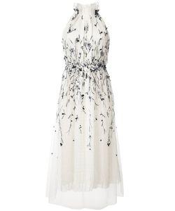 Monique Lhuillier   Плиссированное Платье С Декором
