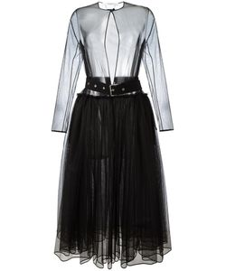 Givenchy | Sheer Tulle Belted Dress 38 Polyester/Wool/Acetate/Silk