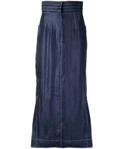 G.V.G.V.   Contrast Stitch Maxi Skirt 36 Nylon/Polyester/Rayon