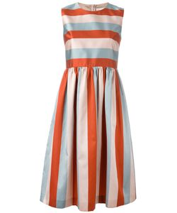 Red Valentino | Striped Fla Dress 40 Silk/Polyester/Acetate