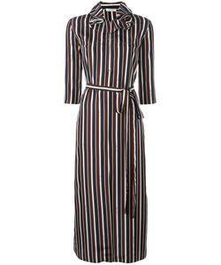 Nina Ricci | Striped Ruffle Collar Dress 40 Silk