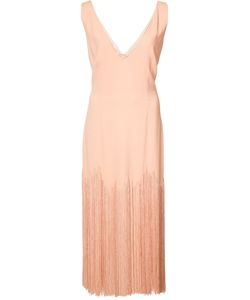 SALLY LAPOINTE | Plunging V-Neck Fringed Dress