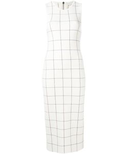 Victoria Beckham | Checked Sleeveless Dress 8 Wool/Polyamide/Spandex/Elastane