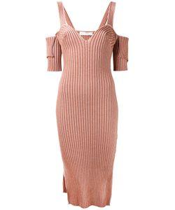 Victoria Beckham   Платье В Рубчик С Вырезами На Плечах