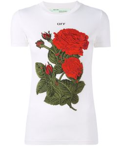 OFF-WHITE | Roses Patch T-Shirt Small Cotton/Lyocell